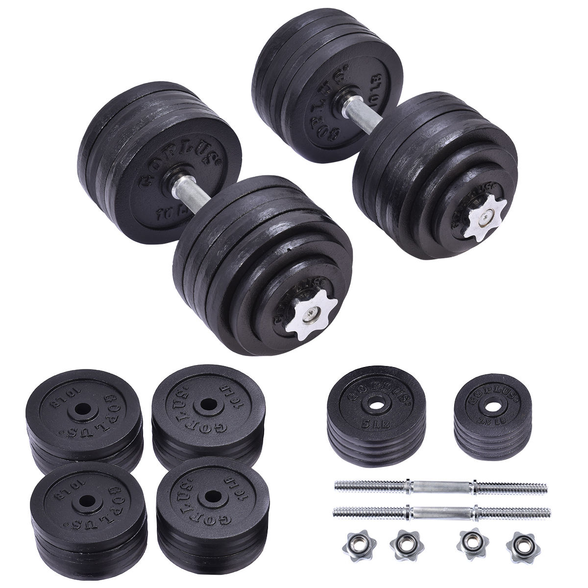 Costway 200 LB Weight Dumbbell Set Adjustable Cap Gym Barbell Plates Body Workout