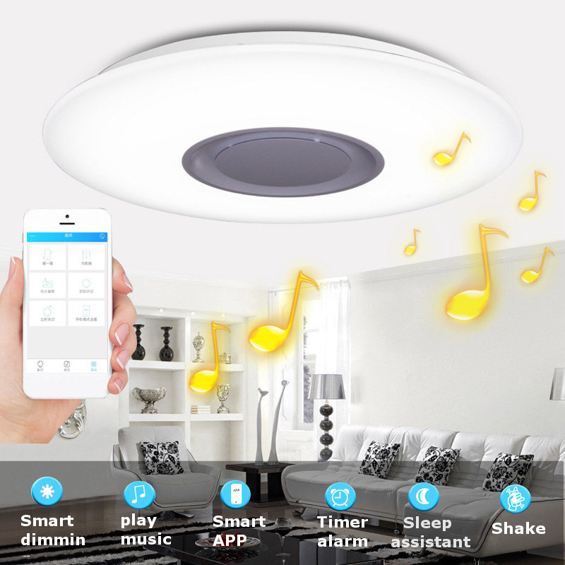 24W Modern Pendant Flush Mount Lamp bluetooth Speaker LED RGB Music Ceiling Light US