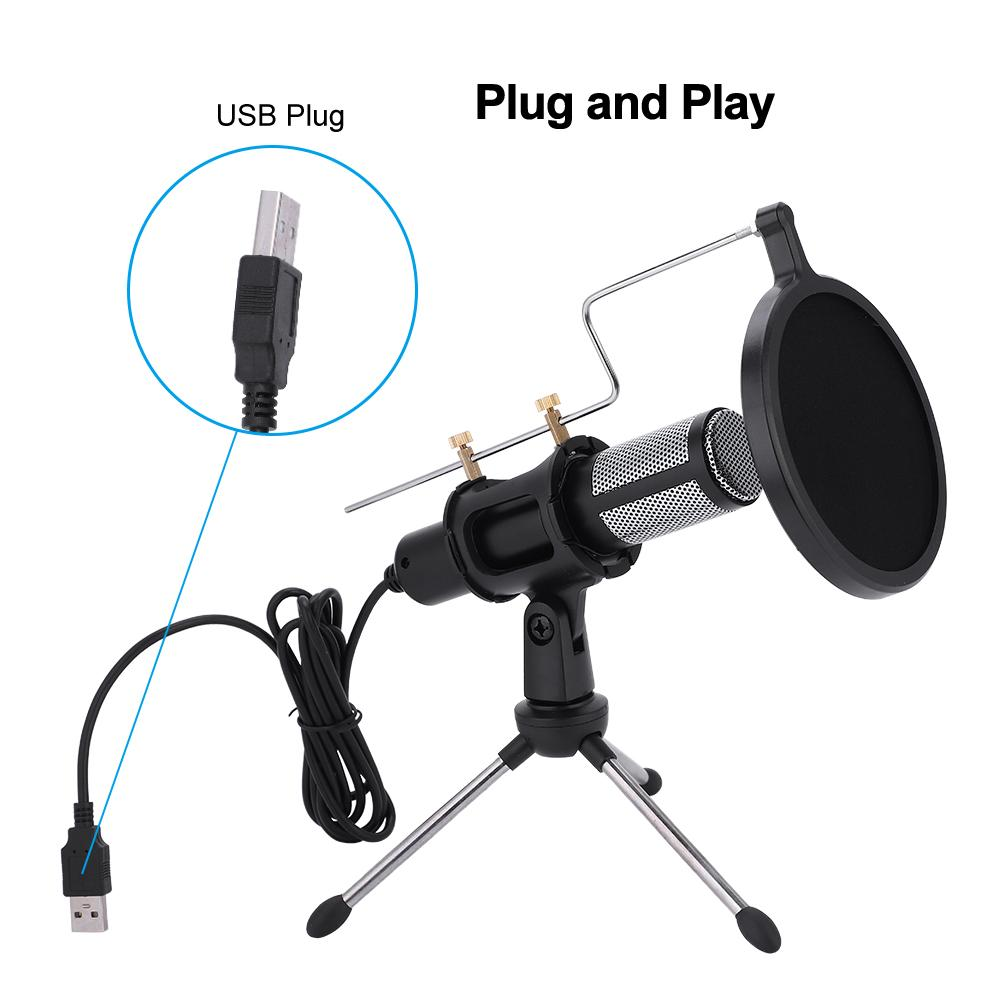 WALFRONT USB Plug Condenser Microphone with TripodStand for Game Chat Studio Recording Computer,Microphone, USB Microphone Set