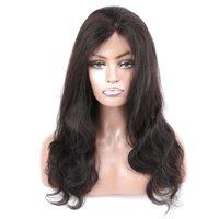 "Beroyal Full Lace Human Hair Wigs Body Wave 180% Density Brazilian Virgin Hair Natural Color, 16"""