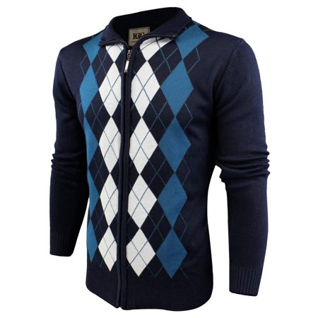 a1e7b038cebe Enimay - Enimay Mens Argyle Zip Up Golf Long Sleeve Zipper Sweater ...