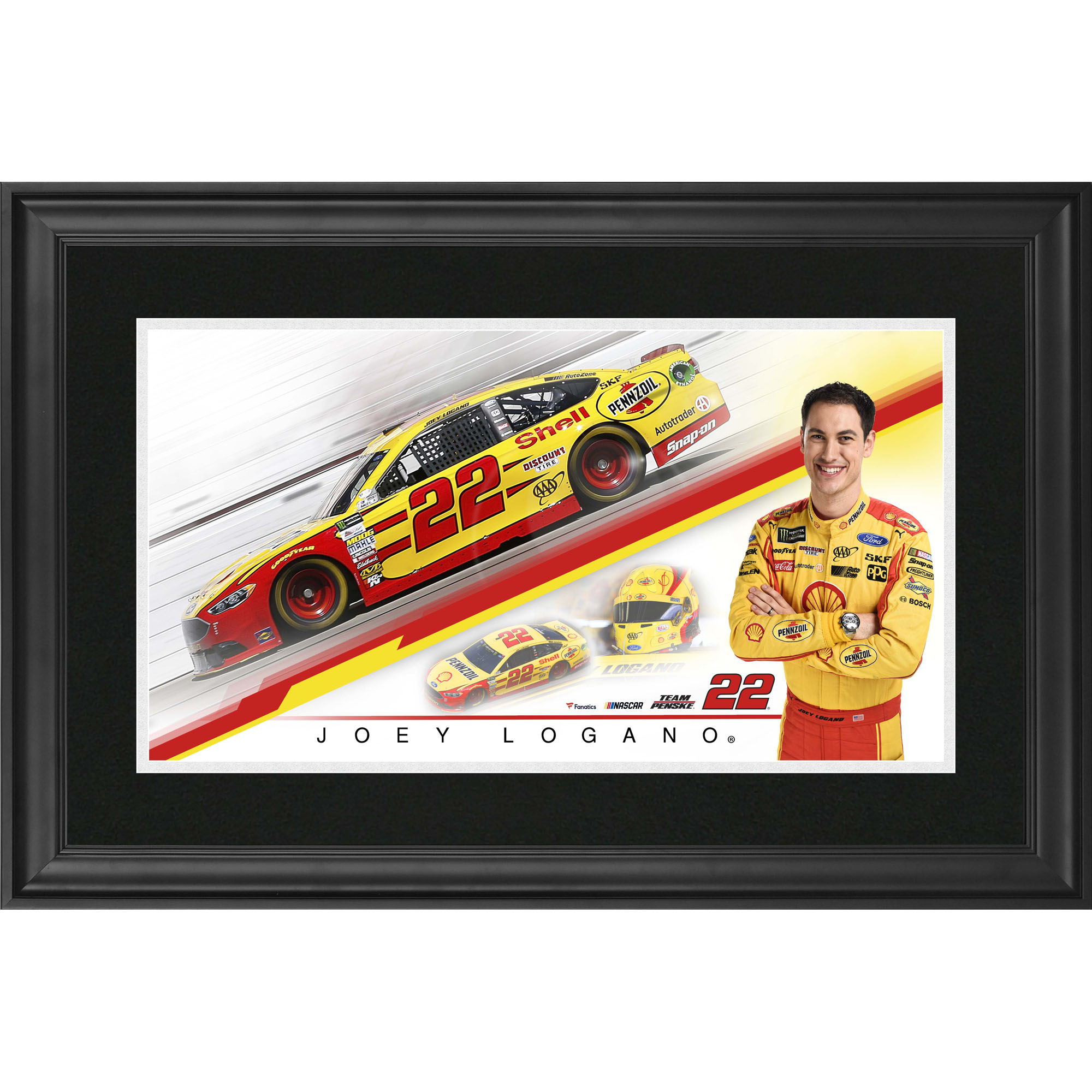 "Joey Logano Fanatics Authentic Framed 10"" x 18"" Panoramic Photograph - No Size"