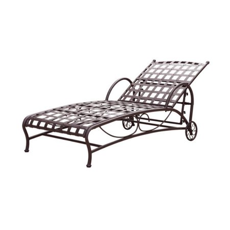 Pemberly Row Iron Patio Chaise Lounge in Matte Brown ()