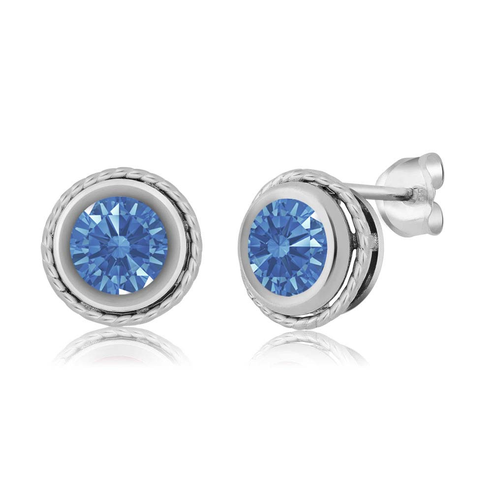 1.68 Ct Fancy Blue 925 Sterling Silver Earrings Made With Swarovski Zirconia