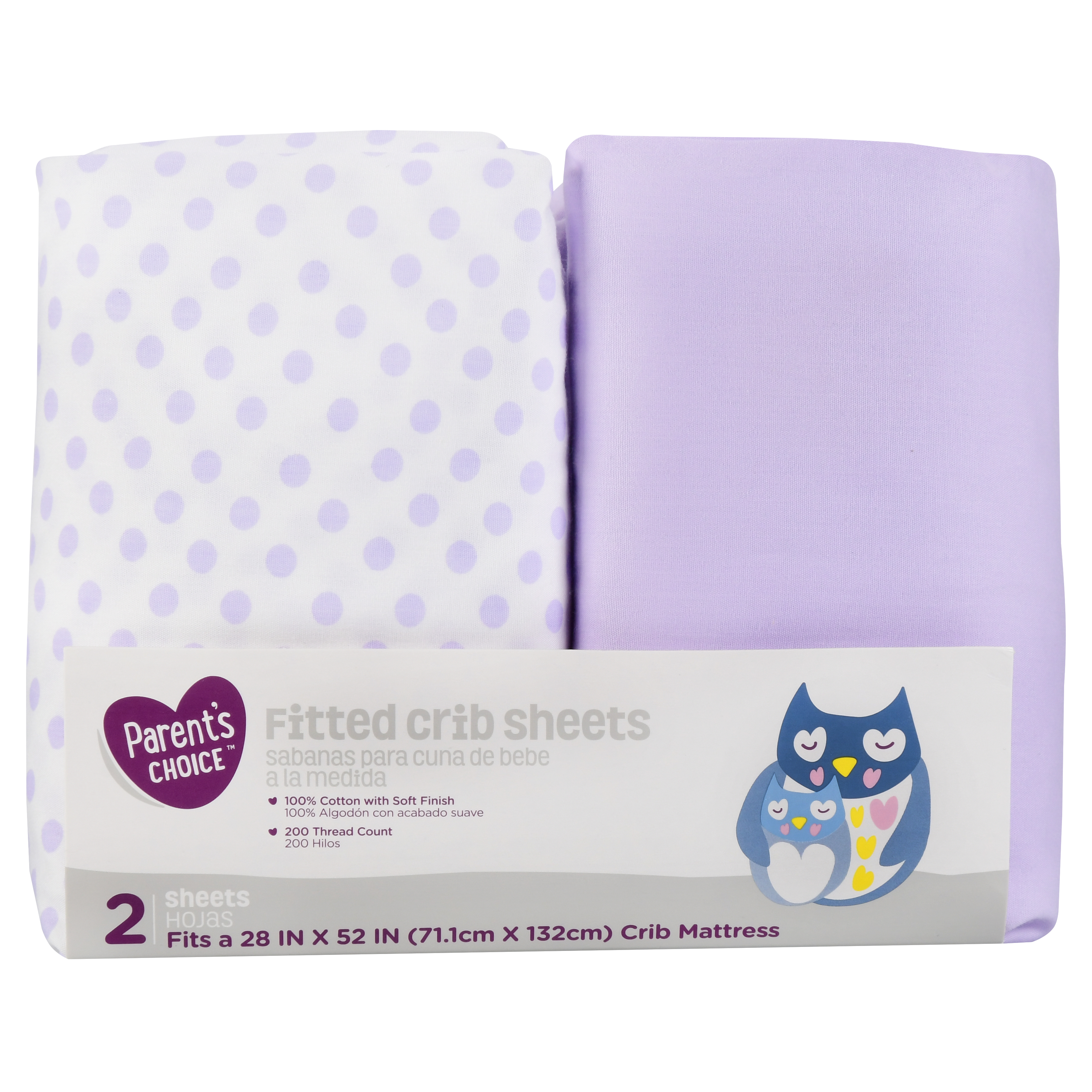 Parent's Choice Fitted Crib Sheets, Purple Print, 2 Pack