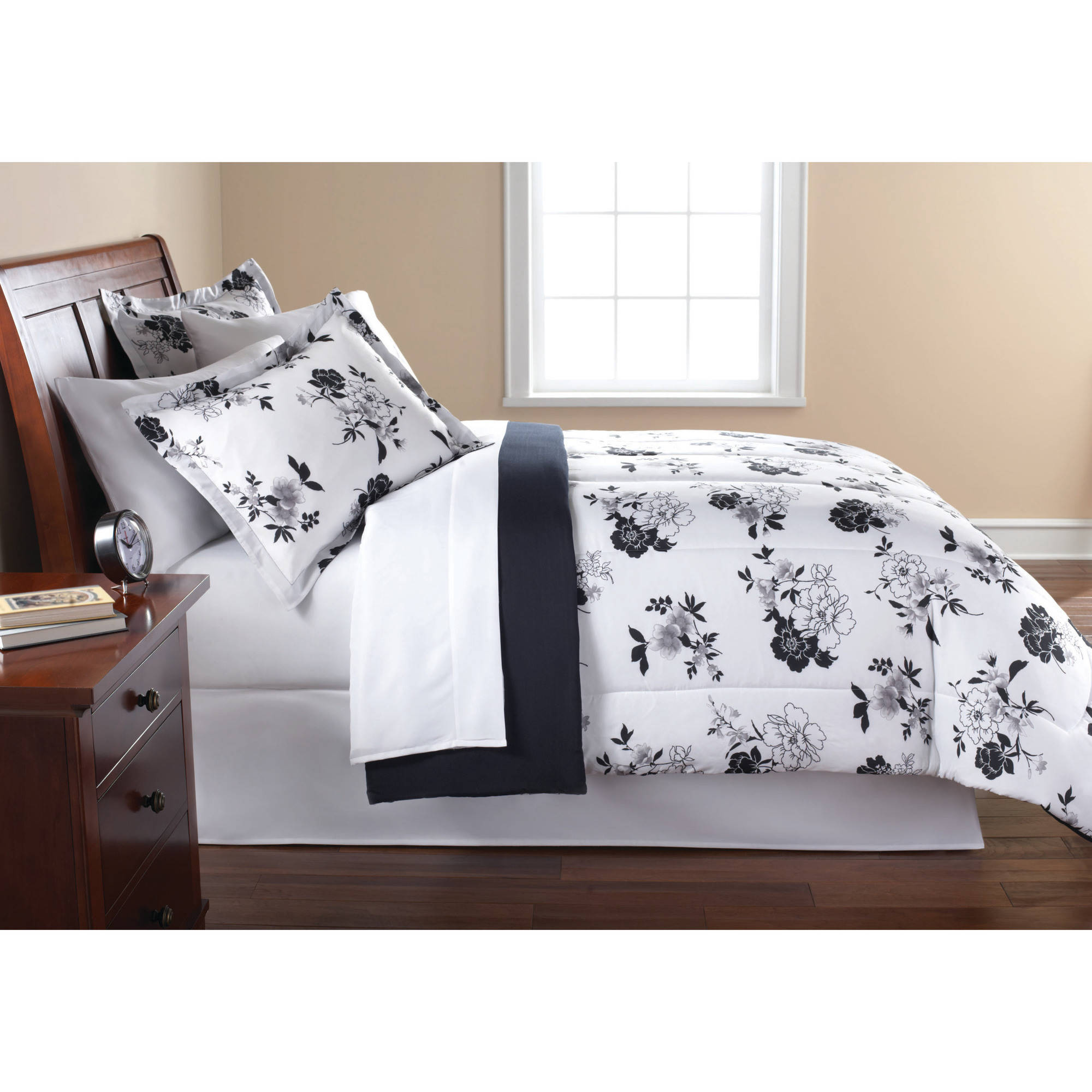 Yellow and gray floral bedding - Mainstays Black And White Floral Bed In A Bag Bedding Comforter Set Walmart Com
