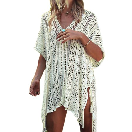 Swim Cover ups Women Knit Lace Crochet Bikini Beachwear V-neck Hollow Out Loose Beach Dress Tops Summer Bathing Suit