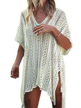 0c468316af Product Image Swim Cover ups Women Knit Lace Crochet Bikini Beachwear V-neck  Hollow Out Loose Beach