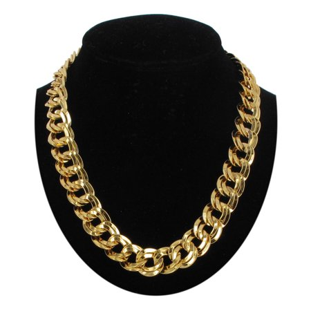 Gold Tone Chunky Double Link Oversized Chain Necklace  - Oversized Necklace