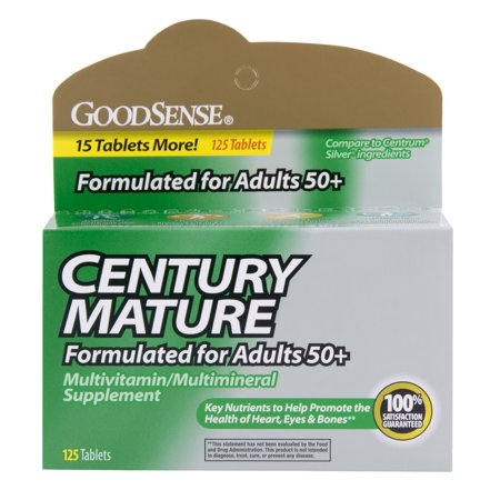 GoodSense Century Mature Ultimate Men's Multivitamin, 125 Ct Good Sense Century Mature Multivitamin is a multivitamin/multimineral supplement formulated with adults age 50 and older in mind. Comparable to the ingredients in Centrum Silver, Good Sense Century Mature Multivitamin is a formula that includes vitamins and minerals essential to good health and nutrition.