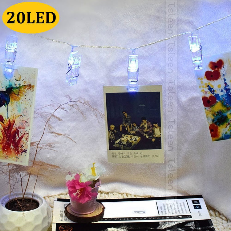 Photo Clip String Lights 20 LED Hanging Picture Clips Decorative String Lights for Artwork Photos Valentine's Day Decorations