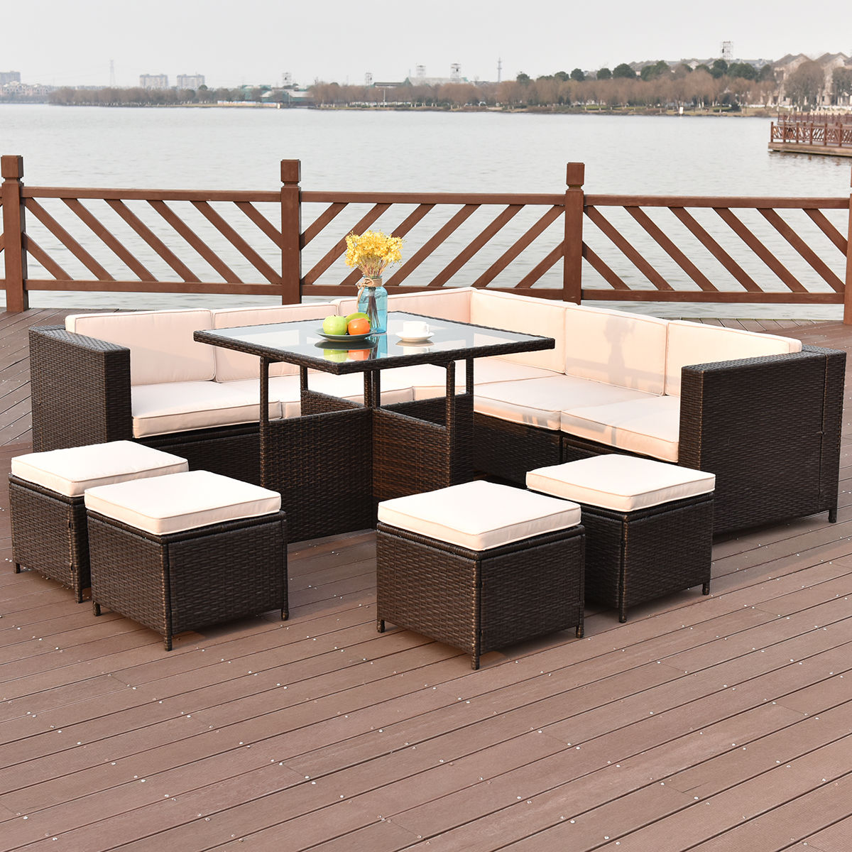 costway 10 pcs outdoor rattan wicker furniture set sectional cushioned ottoman sofa - Sectional Patio Furniture
