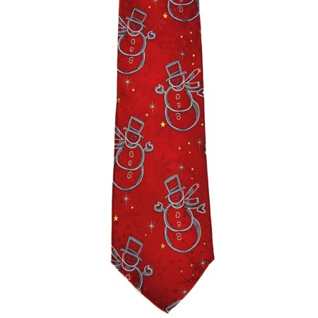 John Ashford NEW Bright Red Mens One-Size Snowman Print Silk Neck Tie