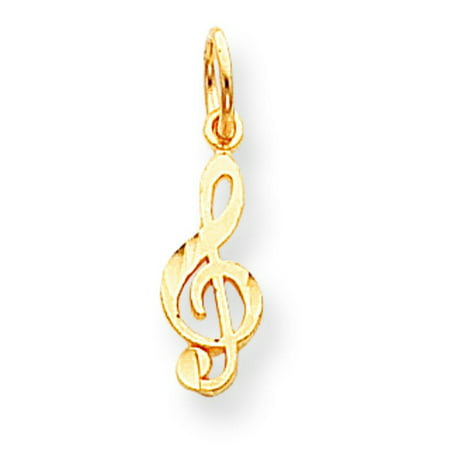 Gold Treble Clef Note Charm (10K Gold Treble Clef Music Note Charm Musical Jewelry )