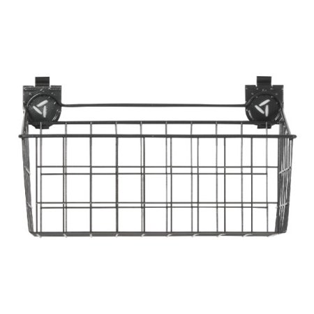 Heavy-Duty Wire Basket 35-lb Capacity Ideal for Holding Sports Equipment Get your gear together with a powder coat steel wire basket. This this basket hangs on Gladiator Wall Systems, giving you the flexibility to move it around as your storage needs change. It's great for storing sports equipment, automotive supplies and other difficult to hang items.