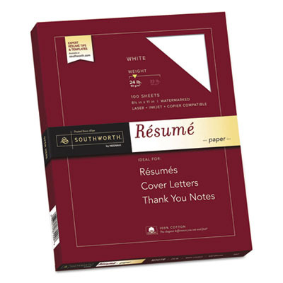 100% Cotton Resume Paper, 24lb, 95 Bright, 8 1/2 x 11, 100 Sheets, Sold as 1 Box, 100 Sheet per Box