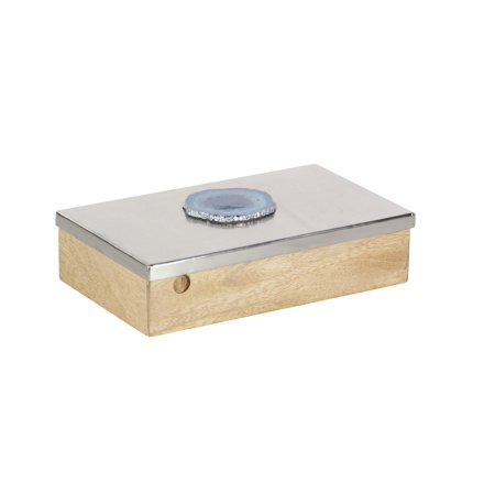 Decmode Glam 3 X 10 Inch Mango Wood And Silver Aluminum Agate Decorative Box ()