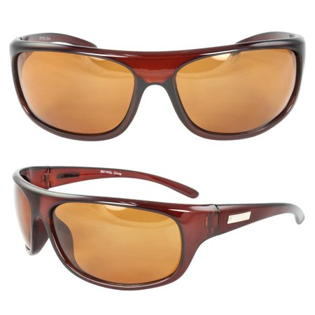 Polarized Wrap Around Fashion Sunglasses Brown Frame Brown Lenses for Men and Women