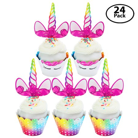 Unicorn Cupcake Toppers & Cupcake Wrappers, 24 (Giant Cupcake Birthday Cake)