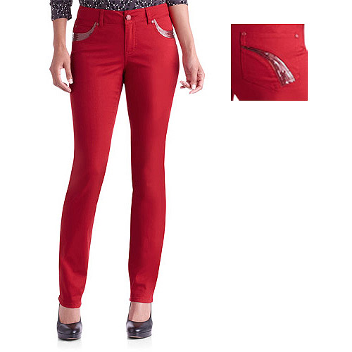 Faded Glory Trend Collection Women's Sequin Pocket Straight Leg Jeans