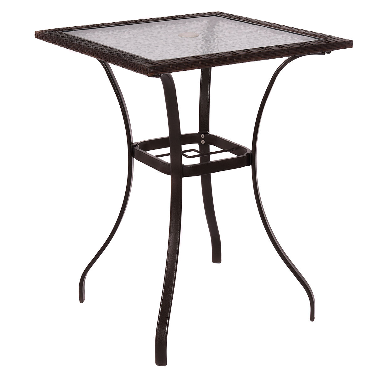 GHP Brown Square Glass Top Contemporary Style Garden Patio Rattan Wicker Bar Table