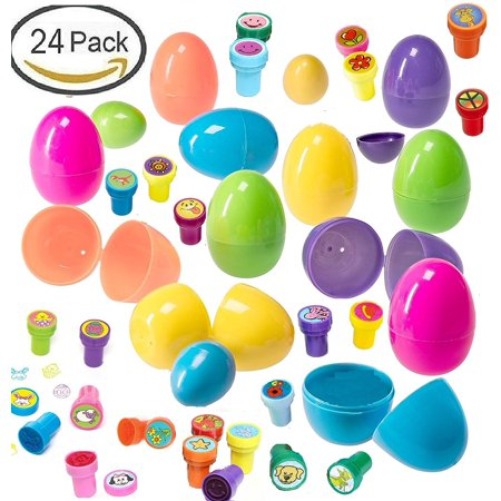 24 Toy Filled Easter Eggs with Assorted Stampers - Amazing Party Favors, Goody Bag Stuffers, Easter Basket Fillers, Ready To Use for Easter Eggs (Filled Goody Bag)
