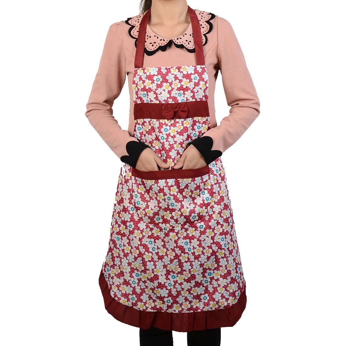 Kitchen Cooking Flower Pattern Lace Detail Pocket Apron Bib Fuchsia for Women