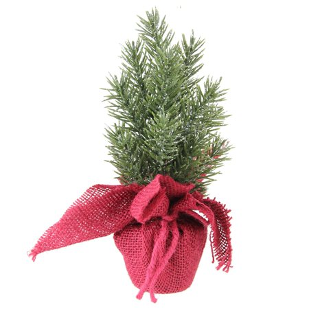 "8.5"" Metallic Finished Mini Pine Christmas Tree in Burlap Covered Vase"