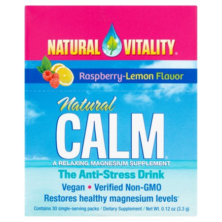 Natural Vitality Raspberry-Lemon Flavor Natural Calm Magnesium Dietary Supplement, 30 count