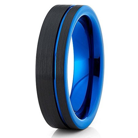 Tungsten Wedding Band Black Blue Ring Carbide Brushed Offset Groove Comfort