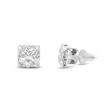 10x10mm Square Princess Cut White CZ Solid 10K White Gold 4-Prong Set Stud - Princess Tension Set Earrings