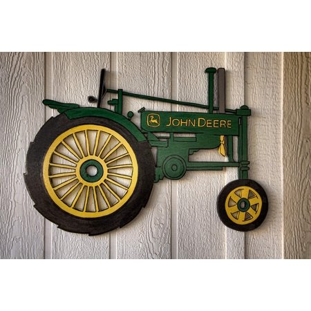 Canvas Print Yard Art Artisanry John Deere Tractor Tractor Stretched Canvas 32 x 24 (Tractor Canvas Art)