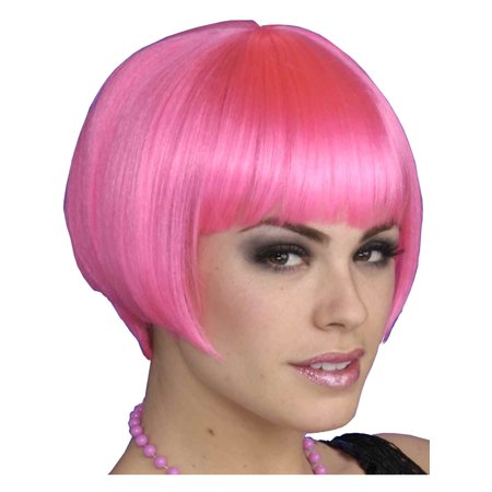 Pink Charleston Chic Flapper Girl Costume Bob Wig (Pink Costume Wigs)