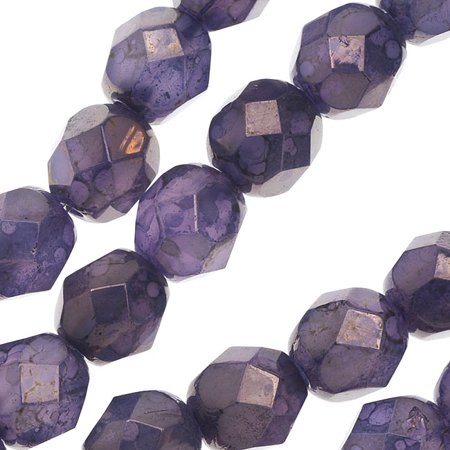 Czech Fire Polished Glass, 6mm Faceted Round Beads, 25 Piece Strand, Milky Alexandrite Moon - Glass Pearl Strands