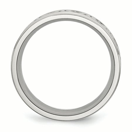 Stainless Steel Scroll Design 9mm Brushed/ Ridged Edge Wedding Ring Band Size 14.00 Fancy Fashion Jewelry For Women Gifts For Her - image 8 of 10