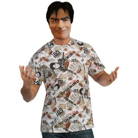 Half And Half Costumes (Charlie Sheen Deluxe 1/2 Latex Mask And Shirt Winning Costume Set Funny)