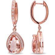 6-3/8 Carat T.G.W. Simulated Morganite and Cubic Zirconia Rose Rhodium-Plated Sterling Silver Pear Dangle Earrings