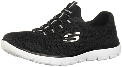 Skechers Summits Womens Slip On Bungee Sneakers Black/White 5.5