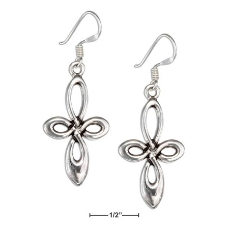 STERLING SILVER ROUNDED CELTIC LOOP CROSS EARRINGS ON FRENCH WIRES
