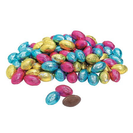 Fun Express - Foil Wrapped Chocolate Eggs (1lb) for Easter - Edibles - Chocolate - Non Branded Chocolate - Easter - 90