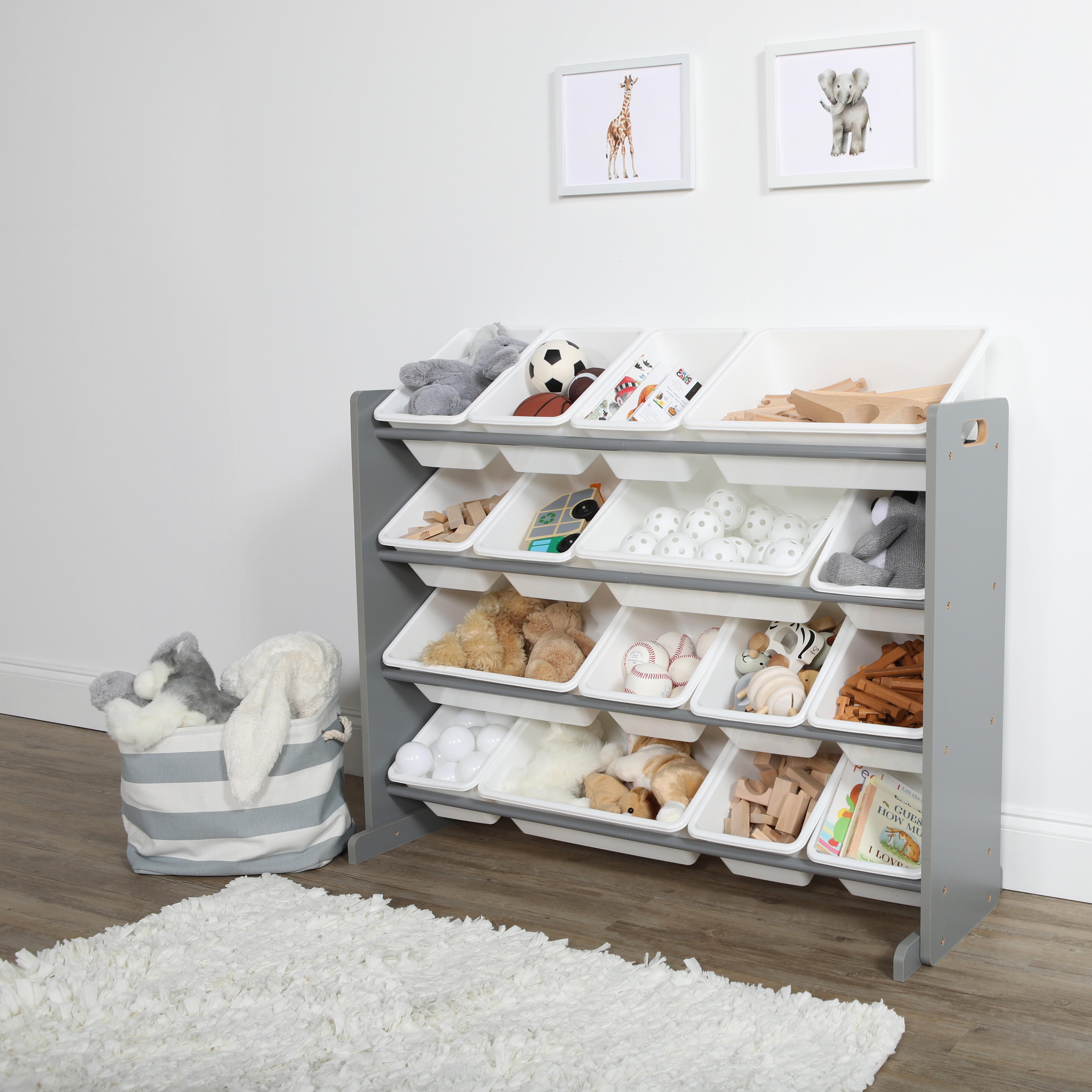 2019 New Wardrobe Kids Organizer Bins Box For Toys: Tot Tutors Grey/White Super-Sized Kids Toy Storage