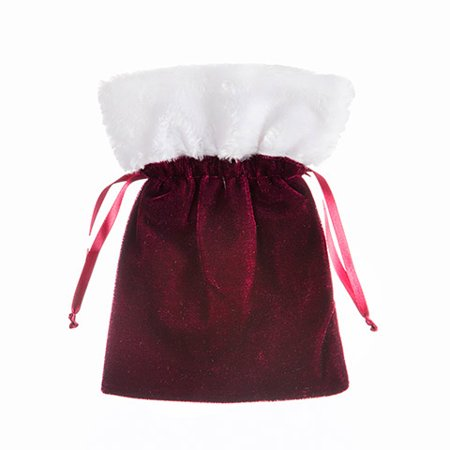 Discover the rich jewel tones of seasonal berries with this velvet favor bag. Fill it with individually wrapped sweets for a quaint gift.](Christmas Bags For Sweets)