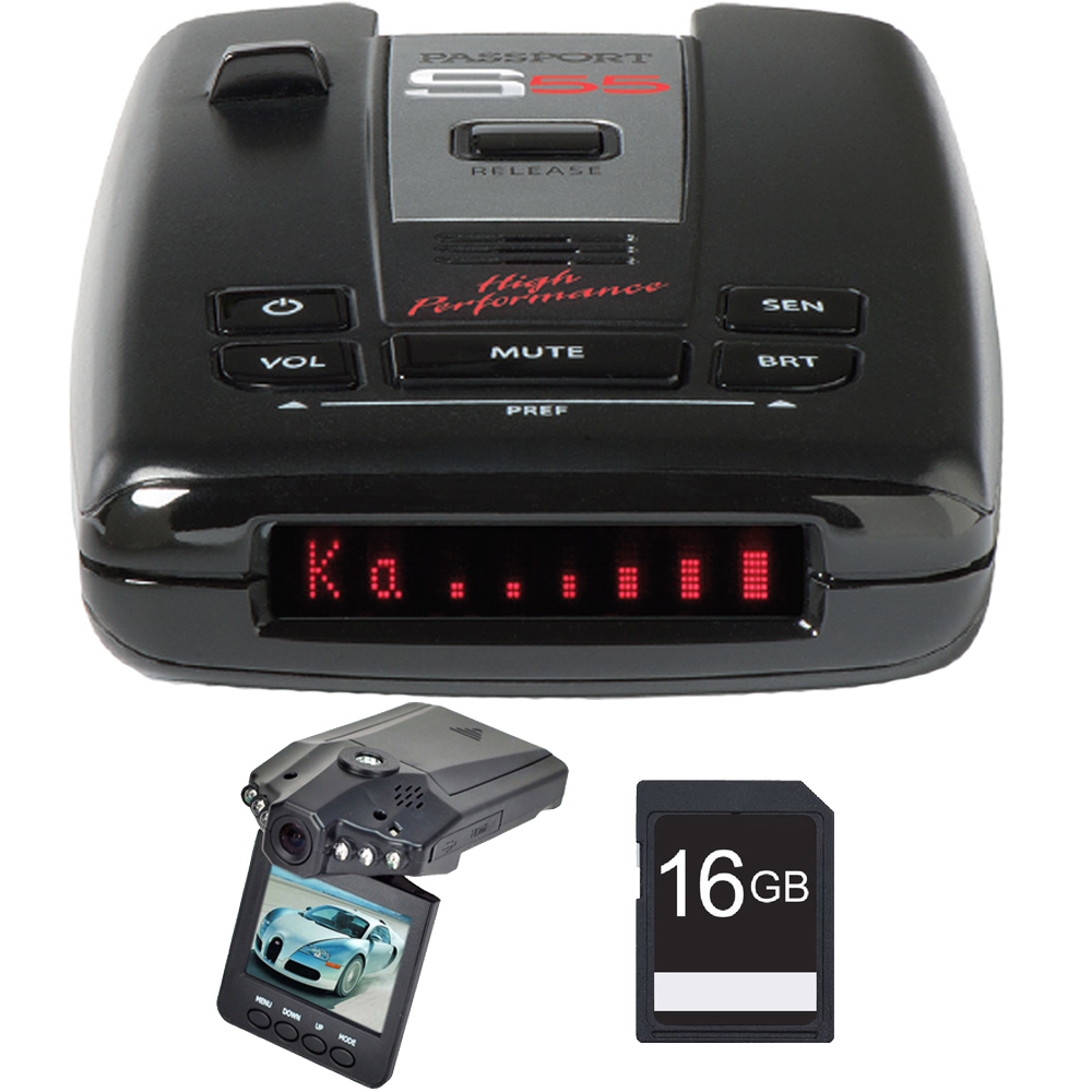 "Escort Passport S55 High Performance Radar and Laser Detector with DSP with Bundle Includes, Xtreme  Automotive HD DVR IR Night Vision HD Dash Camera w/ 2.4"" LCD & 16GB SDHC High Speed Memory Card"