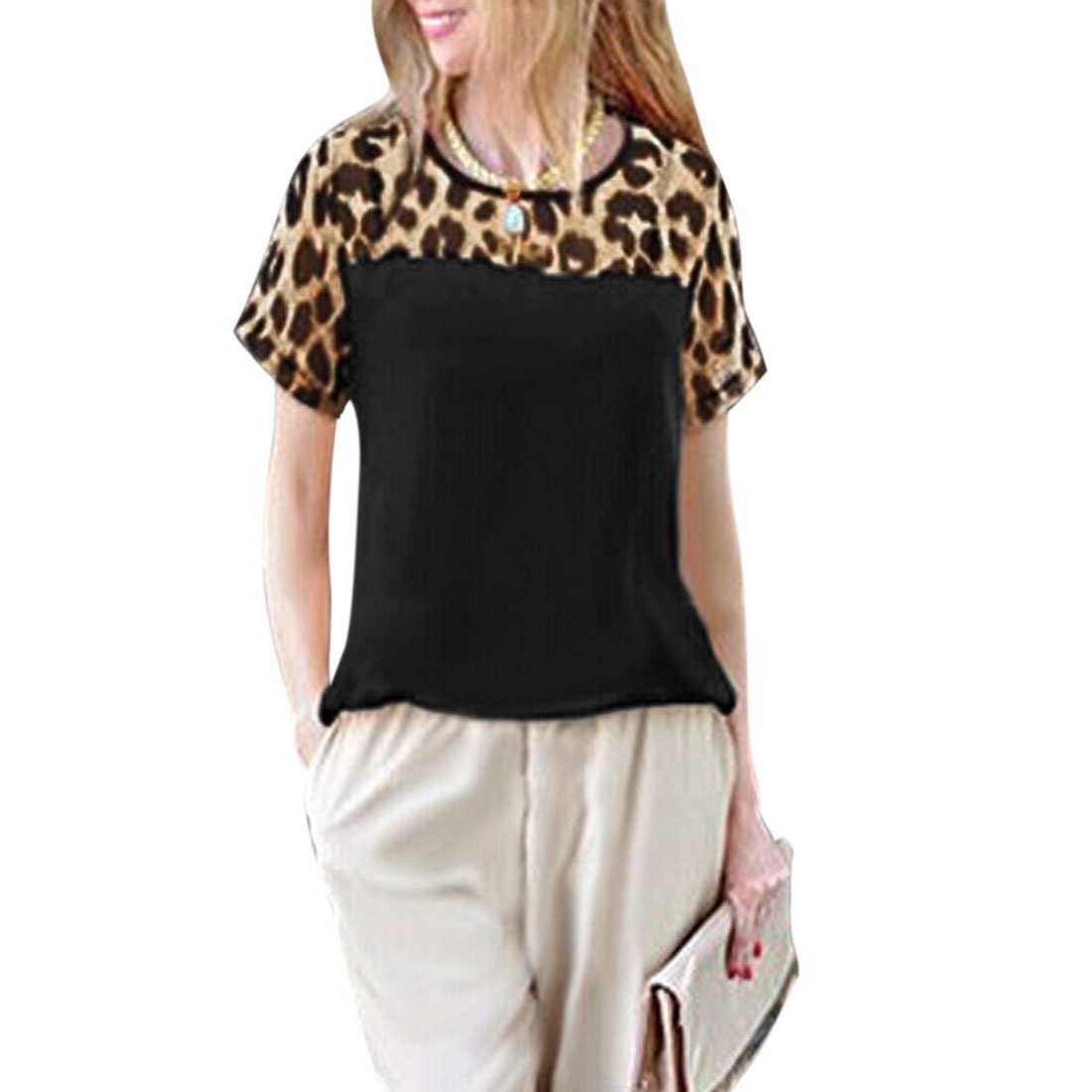 Women's Round Neck Leopard Prints Semi Sheer Summer T Shirts Black XS