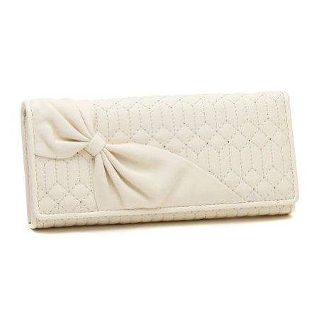 Damara Womens Bowknot Stitched Wallet Card Coin PurseWhite - image 1 of 1
