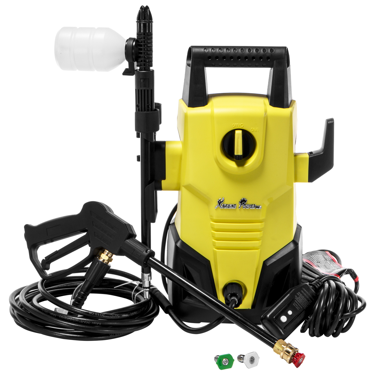 XtremepowerUS Electric 1300 PSI 1.2 GPM Compact Lightweight Pressure Washer With Hose Soap Dispenser