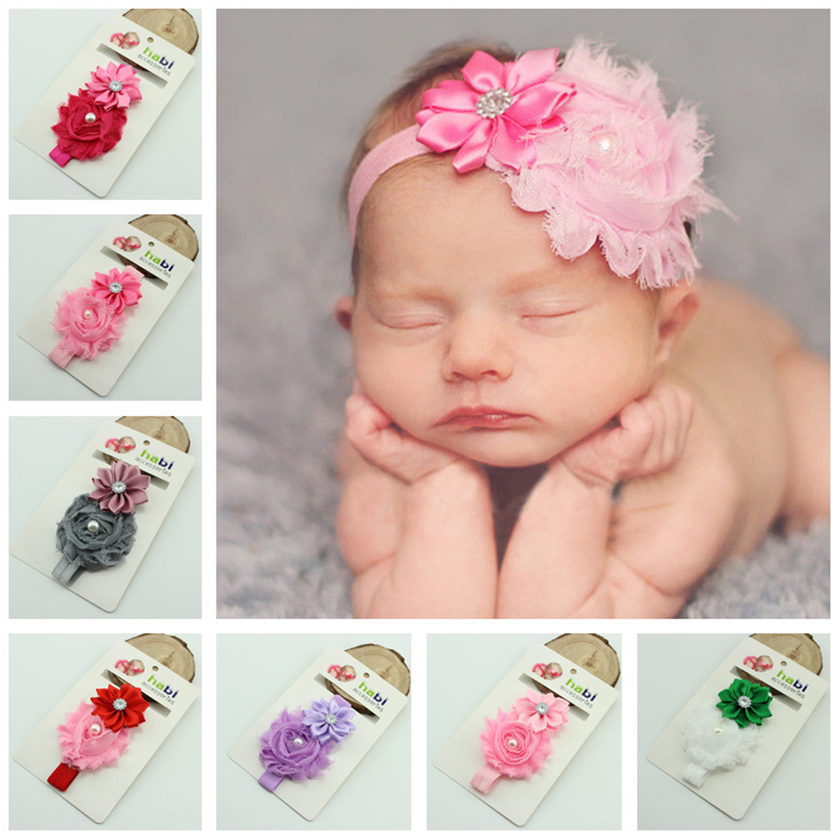 Cute Infant Baby Girls Sweet Flower & Pearl Decor Elastic Headband Hair Band Hair Accessories Photo Props,10 Colors Pack