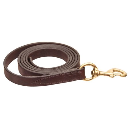 Leather Chain Lead (Horse Amish  Western Halter Leather Lead Shank Brass Chain 975N063)