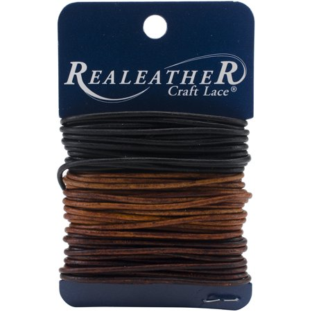Realeather Crafts Round Leather Lace 2mmX8yd Carded-Ebony, Cedar & Mahogany (Leather Hobby)