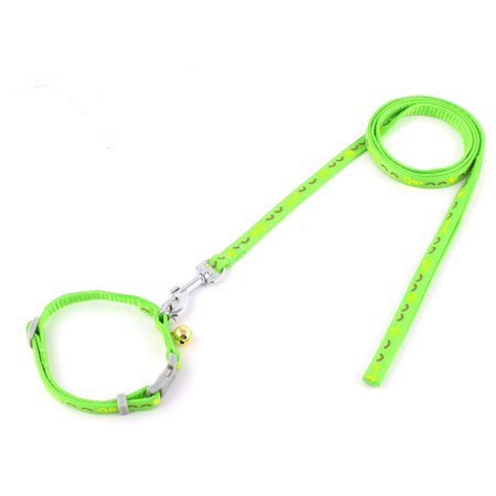 Unique Bargains Puppy Dog Bone Pattern Bell Decor Walking Training  Collar Rope Leash Green